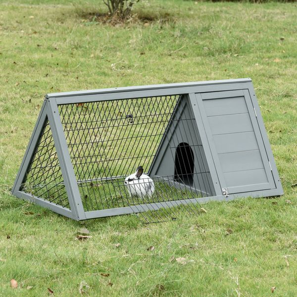 "PawHut 46"" x 24"" Wooden A-Frame Outdoor Rabbit Cage Small Animal Hutch with Outside Run & Ventilating Wire  Grey Triangle Shaped Protective Pet House w/ 