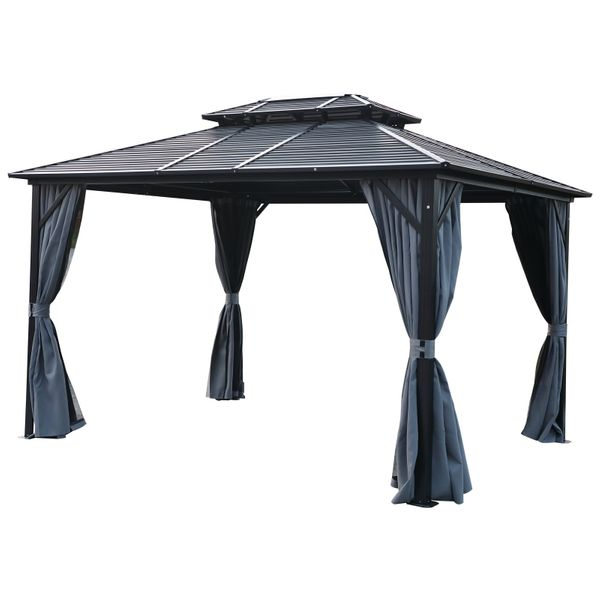 Outsunny 12'x 10' 2-Tier Roof Steel Hardtop Aluminum Permanent Gazebo with Mesh Net and Privacy Sidewalls | Aosom