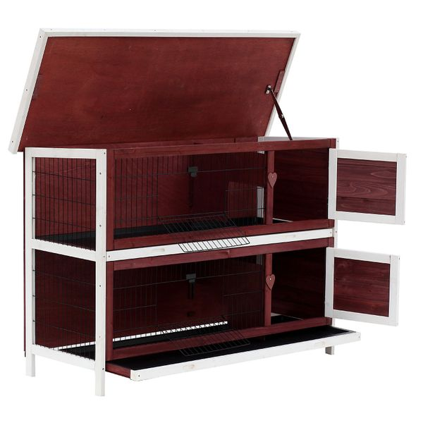"""Pawhut Outdoor Rabbit Hutch 54"""" Dual Hutch Wooden Outdoor Rabbit Playpen Small Animal Cages / 2-Story Stacked Rabbit Hutch 
