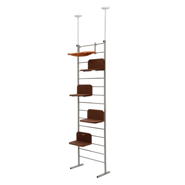 "Pawhut 108"" Floor-to-Ceiling Adjustable Staggered Climbing Cat Tree Tower / climbing cat ladder"