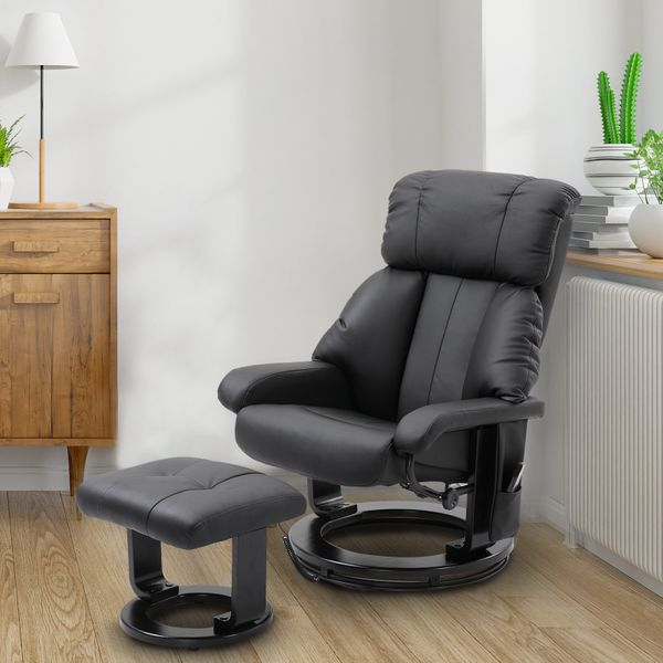 HOMCOM PU Leather Swivel Heated Massage Chair Recliner and Ottoman with Bentwood Base - Black   Aosom