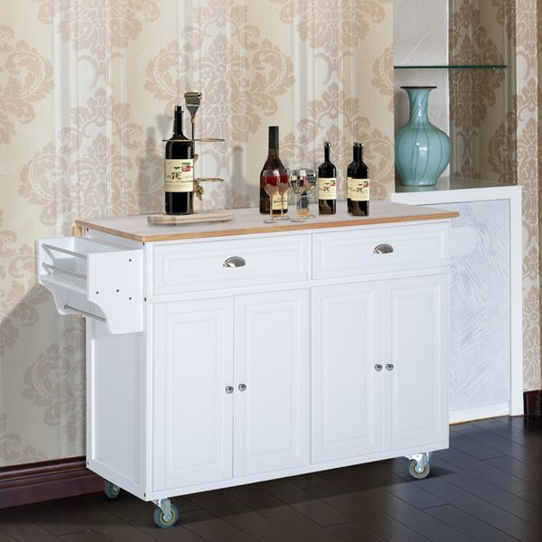 HOMCOM Kitchen Rolling Island Cart with Drawers Wood Top Drop-Leaf Rolling Kitchen Island Table Cart on Wheels - White | Aosom