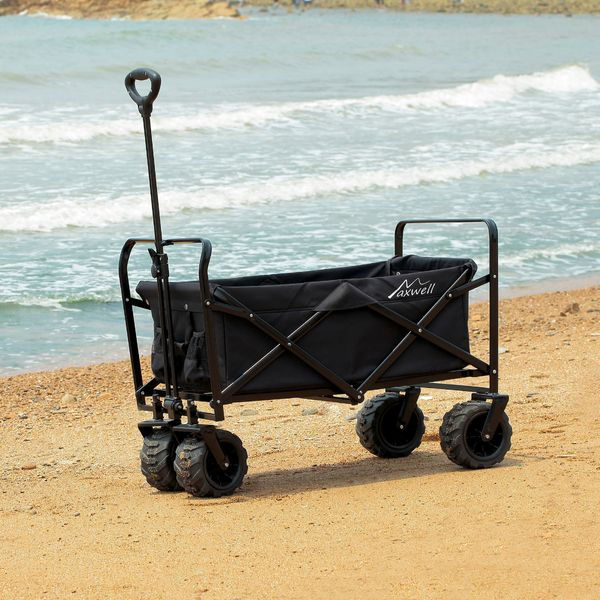 Aosom Utility Folding Wagon Big Wheels Compact Collapsible Outdoor Garden Cart with Steel Structure for Shopping, Fishing, Gardening, Camping, Beach - Black|Aosom.com
