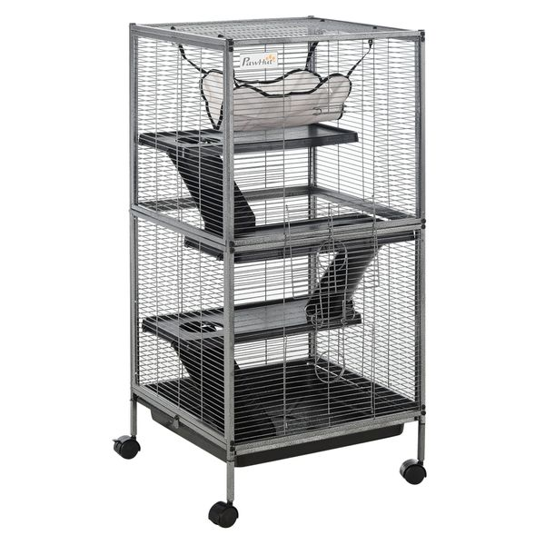 PawHut Rolling Small Animal Cage Pet for Rabbits  Chinchillas  Hamsters  and Ect with 4 Platforms and Removable Tray Play House|AOSOM.COM