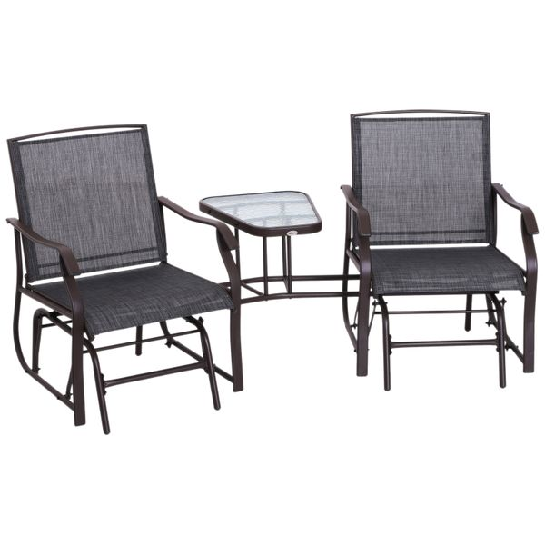 Outsunny Two Person Backyard Patio Deck Steel Metal Sling Double Glider Chairs with Table | Aosom
