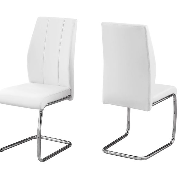 Monarch 2 Piece PU Leather Cantilever Chrome Metal Legged Modern Dining Chair Set - White | Aosom