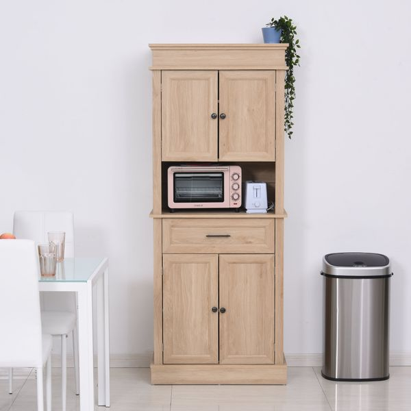 Homcom Traditional Freestanding Kitchen Pantry Cabinet Cupboard With Doors And Shelves Adjustable Shelving Oak Wooden Pantry Buffet Aosom