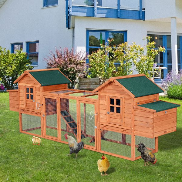 "PawHut Garden Chicken Coop 124"" Premium Dual Hen House Backyard Chicken Coop with 2 Outdoor Ramps Nesting Boxes / double house chicken coop 