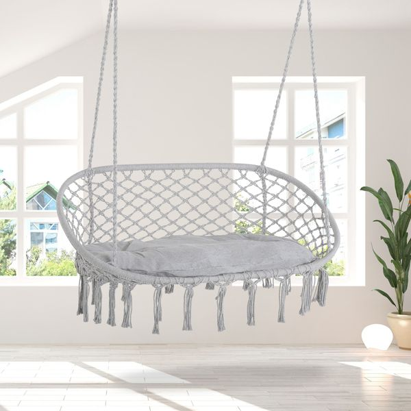 Outsunny Hanging Hammock Chair Cotton Rope Porch Swing with Metal Frame and Cushion, Large Macrame Seat for Patio, Garden, Bedroom, Living Room, Light Grey Patio Garden | Aosom
