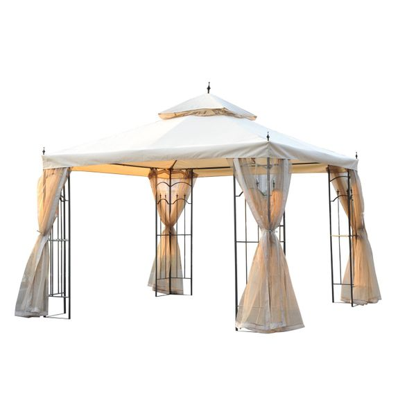 Outsunny 10' x 10' Outdoor Garden Patio Canopy Gazebo with Mesh Insect Curtains - deluxe canopy with curtains | Aosom