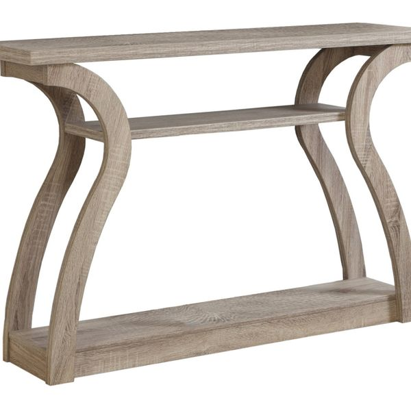 """Monarch 47"""" Contemporary 3-Tier Wood Grain-Look Curved Leg Base Accent Console Table - Dark Taupe Finish   Aosom"""