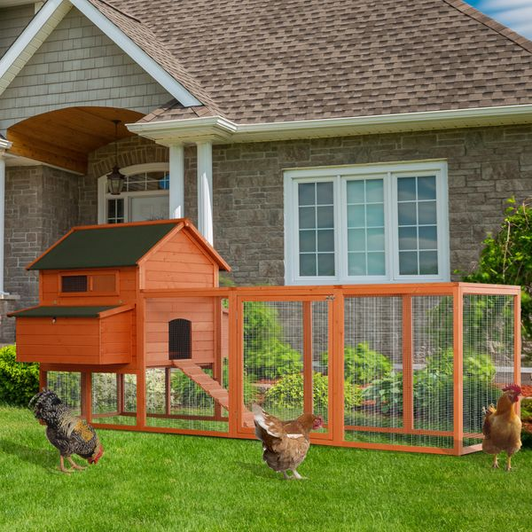 PawHut XL Solid Wood Deluxe Outdoor Lockable Chicken Coop Kit with Nesting Box and Run | Aosom