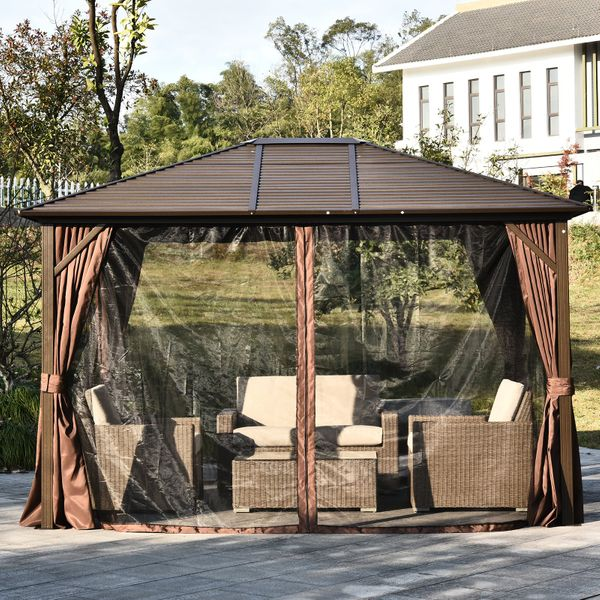 Outsunny 12 X 10 Steel Hardtop Outdoor Metal Patio Gazebo With Curtains Brown Black Aosom