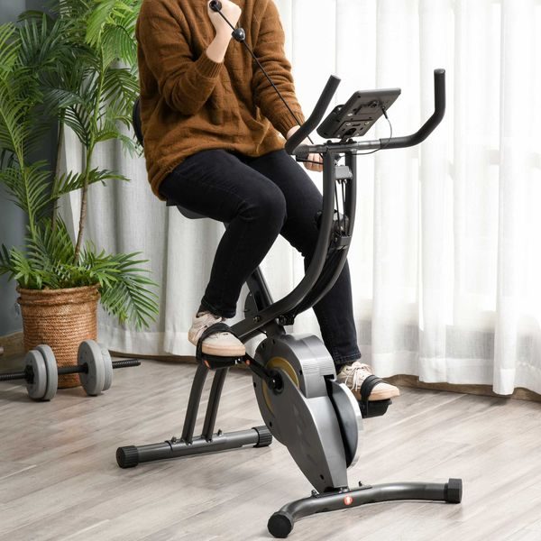 Soozier Recumbent Exercise Bike Stationary Adjustable Pressure Control Resistance Foldable w/ LCD & Elastic Rope  Grey 16 Level | Aosom