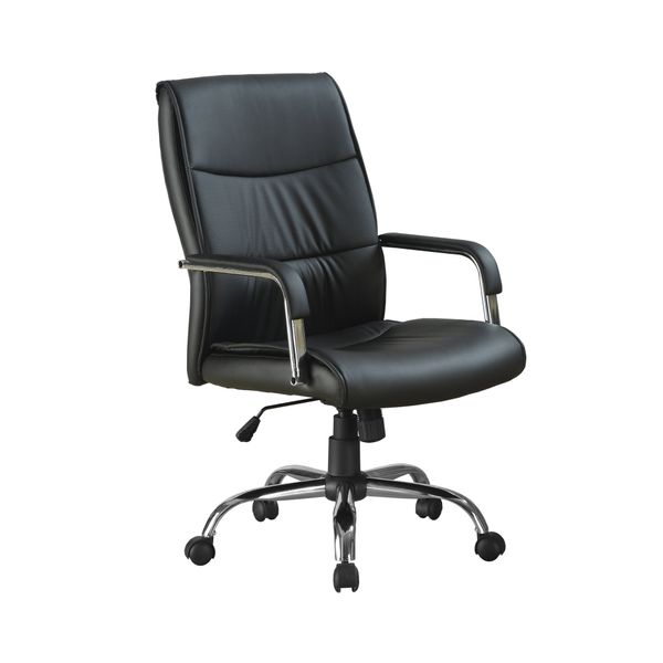 Monarch Contemporary Faux Leather High-Back Height Adjustable Office Chair - Black | Aosom