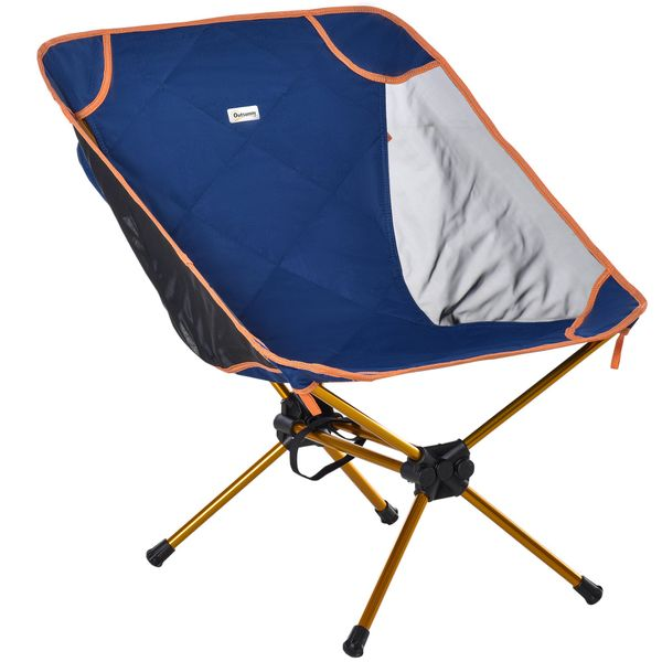 Outsunny Lightweight Camping Backpacking Chair Folding Collapsible Chair w/ Carry Bag for Travel, Beach, Picnic, Hiking, Navy Blue & Comfy Deep Seat | Aosom
