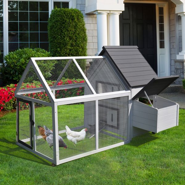 """PawHut Chicken Coop 65"""" Wood Outdoor Chicken Coop House with Nesting Box / Entrance Ramp / Excercise Run and Playing Ladder 