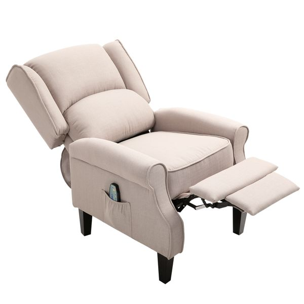 HOMCOM Vibrating Heated Massage Chair Linen Fabric Massage Recliner Chair Push-Back with Remote Controller and Footrest - Beige | Aosom