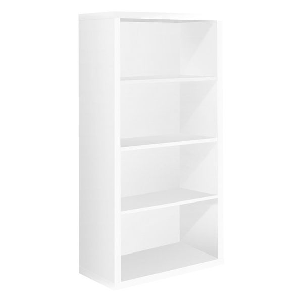 "Monarch 48""H Contemporary Hollow-Core Bookcase with Adjustable Shelves - White 