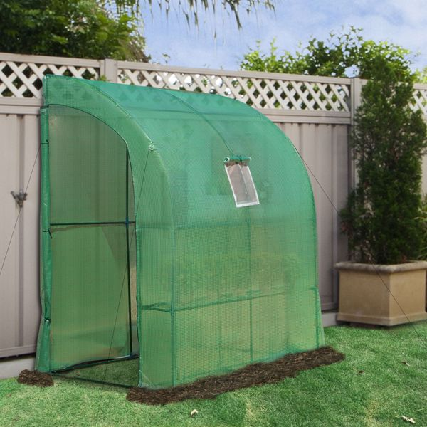 Outsunny 6.5' x 3.3' x 7' Outdoor Walk-In Tunnel Wall Gardening Greenhouse with Windows and Doors  2 Tiers 6 Wire Shelves 6.5'x3.3'x7' | Aosom