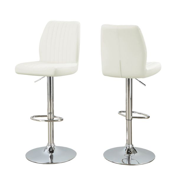 Monarch 2 Piece Contemporary PU Leather Vertical Ribbed Seat Chrome Base Hydraulic Lift Swivel Barstool Chair Set - White Finish | Aosom