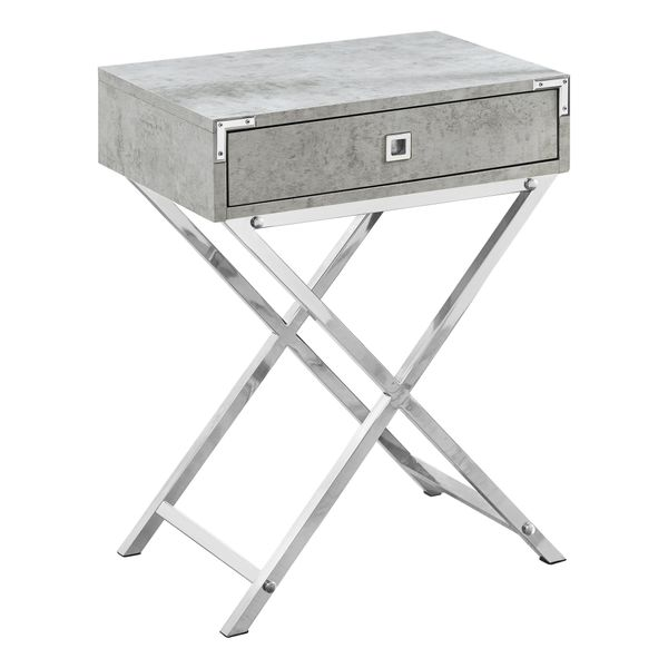 "Monarch 24"" Contemporary Accent Side End Table with Large Storage Drawer and Metal X-Design Legs - Grey Cement-Look / Chrome Metal Legs 
