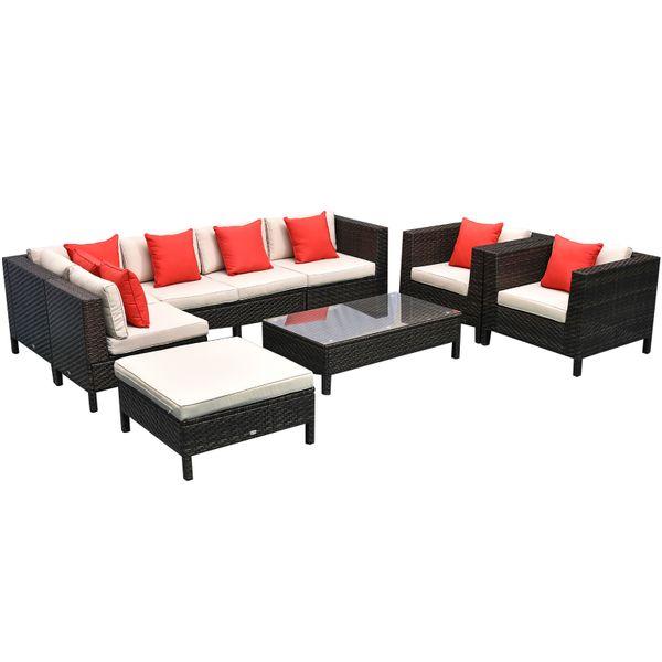 Outsunny 9 Piece Rattan Wicker Outdoor, Outdoor Furniture Sectional Sofa