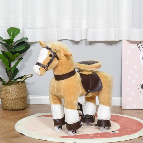 Qaba Rocking Horse Toy Ride-On Walking Rolling Kids Horse With Easy Rolling Wheels Soft Huggable Body & A Large Size For Kids 3-8 Years | Aosom