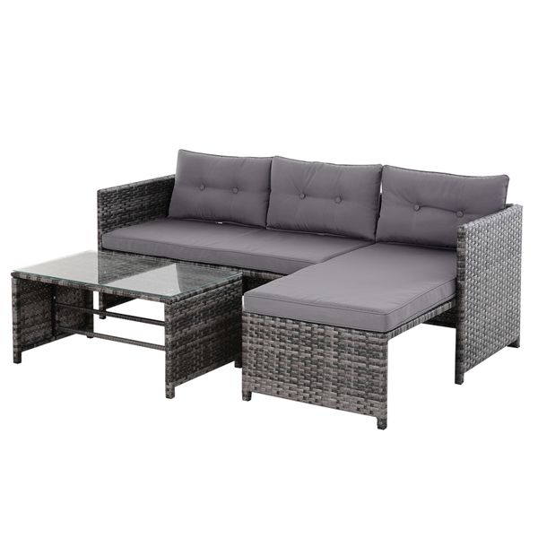 Outsunny 3-Piece Wicker Rattan Patio Set Includes Sofa Chaise & Coffee Table Great for Poolside or Porch Lounging Grey Incl. Chair | Aosom