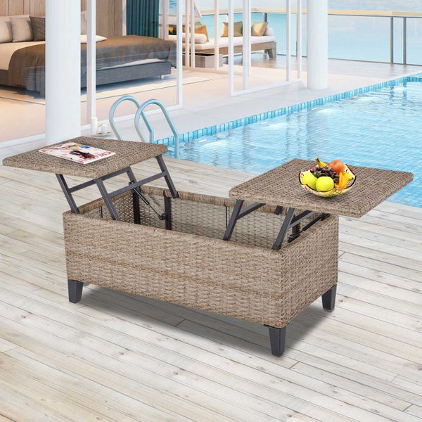 Outsunny PE Wicker Rattan Outdoor Coffee Table with Double Lift-Top Surface, Rust-Fighting Steel, & Modern Design, Brown Backyard Patio Plastic Center w/ Steel Frame,   Aosom
