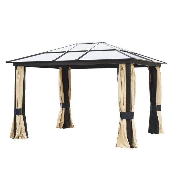 Patio Gazebo Canopy Outsunny® 12' x 10' / Outsunny Outdoor Party w/ Mesh and Curtains - Beige 12'x10' Shelter Hardtop Luxury Gazebo with Curtains|Aosom.com