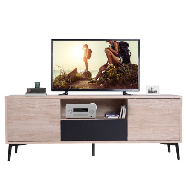 "HOMCOM 47"" Modern Media Entertainment Center TV Stand Storage Cabinet Drawers