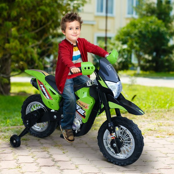 Aosom Cruising Kids Dirt Bike Electric Motorcycle with Charging 6V Battery  Real Driving Sounds  & Built-In Music  Green Ride-On Childrens w/ Fun   Aosom