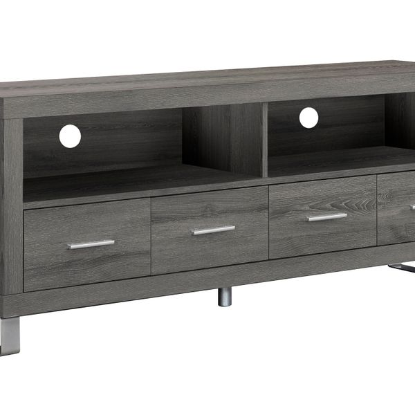 """Monarch 60"""" Contemporary 4-Drawer Open Concept Shelf Reclaimed Wood-Look Storage Console TV Stand - Dark Taupe Finish 