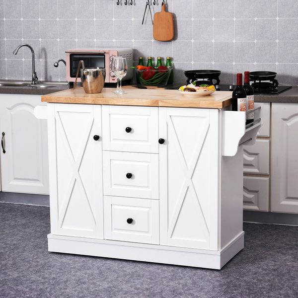 Homcom Wooden Mobile Kitchen Island Cart With Drawers And Wheels White Kitchen Islands Aosom