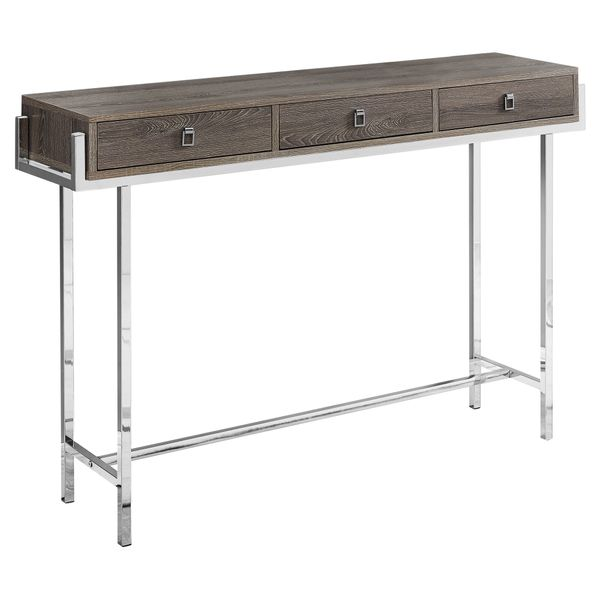 "Monarch 48"" Contemporary 3-Drawer Storage Chrome Metal Frame Accent Hall Sofa Console Table - Dark Taupe Wood Grain-Look Finish 
