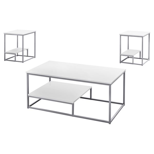 Monarch 3 Piece Modern Minimalist Smooth Laminate Top Coffee Table / Two Matching End Tables Set - White / Silver | Aosom
