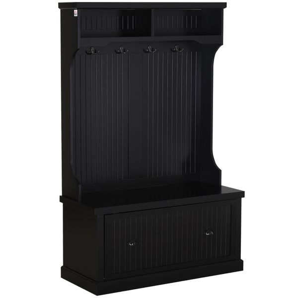 HOMCOM Hall Coat and Shoe Storage Hall Cabinet with Top and Bottom Storage Metal Double Hooks and Bench Black Cupboard Corner Tree Cabinets | Aosom