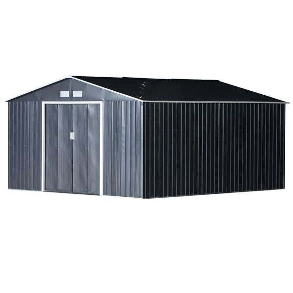 Outsunny 11.15' W x 12.5' D Metal Outdoor Utility Storage Tool Shed for Backyard and Garden - Grey AOSOM.COM