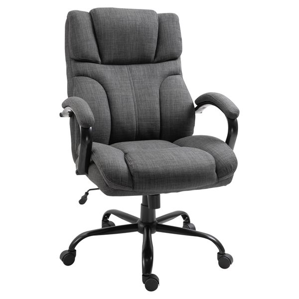 Vinsetto Ergonomic Office Chair Big And Tall Fabric Office Chair With Wheels Padded Wide Seat Desk Task Seat 360° Swivel Hold Up To 500Lbs Deep - Grey Wheel Linen Style Rocker Home, Executive Chairs | Aosom