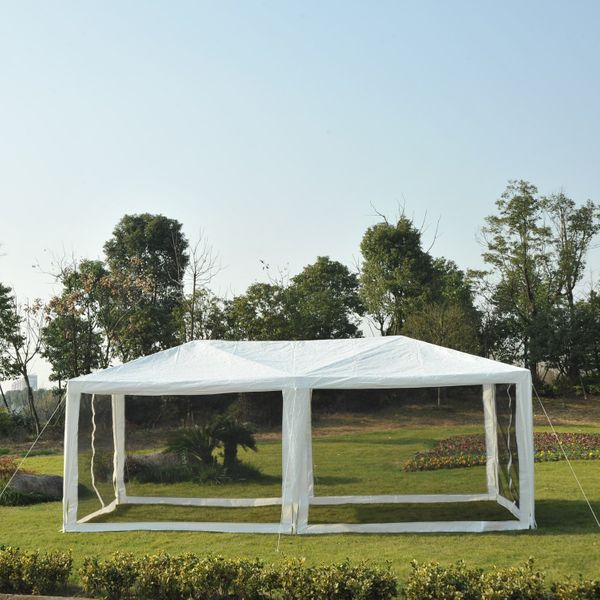 Outsunny 10' x 20' Wedding Party Outdoor Patio Tent Canopy Easy Open Gazebo with Removable Mesh Side Walls - White / Large pop up tent|Aosom.com