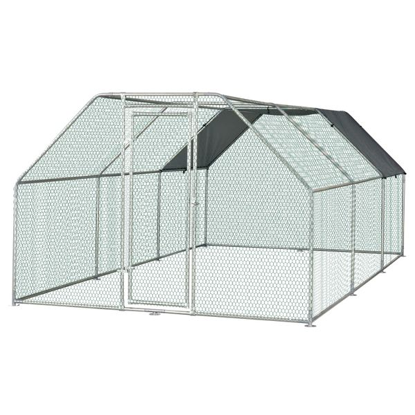 PawHut Galvanized Metal Chicken Coop Cage with Cover Walk-In Pen Run 9' W x 18.5' D x 6.5' H   Aosom