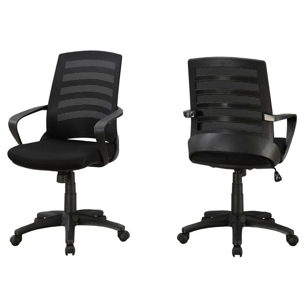 Monarch Ergonomic Adjustable Multi Position Swivelling Mid Back Office Chair - Black | Aosom