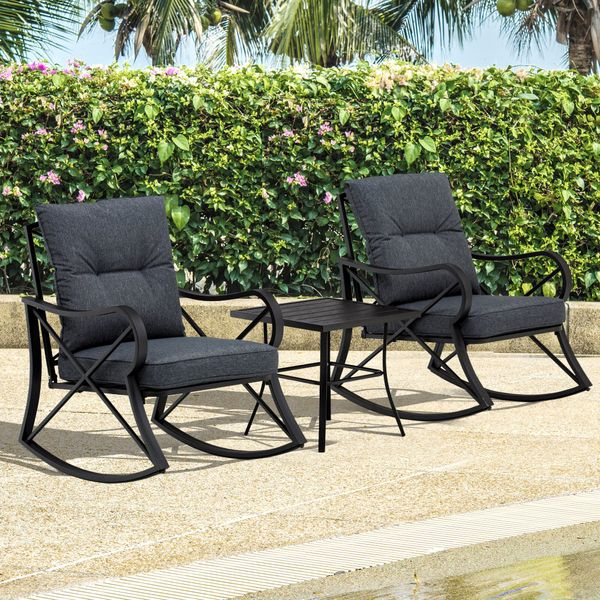 Outsunny 3-Piece Outdoor Rocking Coffee Table Chair Set with Curved Base, Soft Cushions, & Aluminum Frame, Black 3-PC Backyard Bistro Conversation w/ Cushions   Aosom