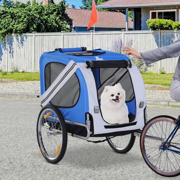 Aosom PawHut Bike Trailer & Wagon Jogger for Dogs and Pets with 3 Entrances Large Wheels for Off-Road & Mesh Screen White Fold Up Pet Bicycle Cargo Dog Cat Steel Frame Oxford Fabric|AOSOM.COM