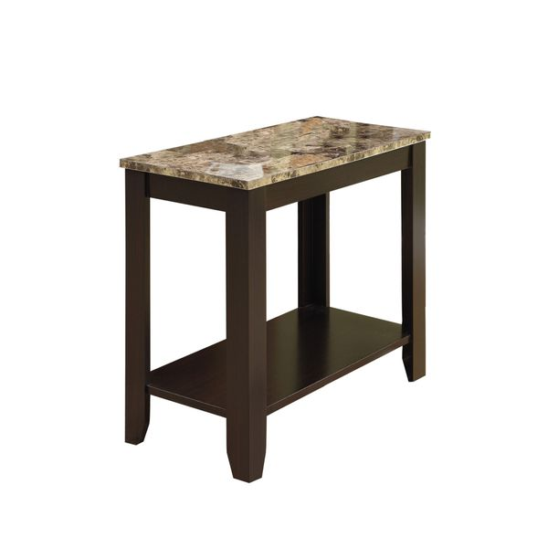 """Monarch 22"""" Transitional Style Rectangular Marble-Look Top Wood Grain-Look Legs 2-Tier Side Accent End Table - Cappuccino Brown Finish 