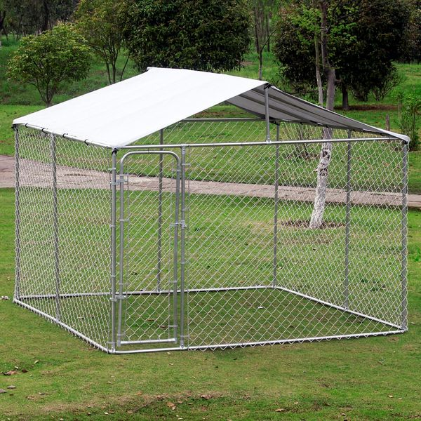 Pawhut 10' x 6' Outdoor Chain Link Box Kennel Dog House with / 10' 6' Cover - Silver 10x10FT Pet Run Shade Cage Enclosure w/ Playpen Secure Outdoor Dog Shelter | Aosom