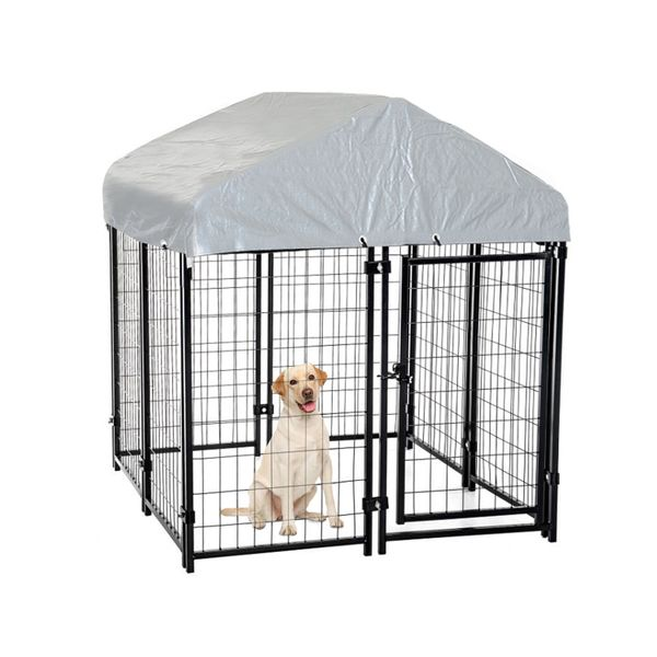 """Pawhut 97"""" Spacious Wooden Chicken Coop with Nesting Box and Backyard Run Outdoor Covered Dog Kennel House Crate Cage Enclosure dog kennel with protective tarp   Aosom"""