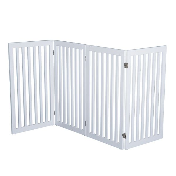 """PawHut 36"""" x 80"""" Wooden Freestanding 4 Panel Safety Expandable Pet Gate - White / freestanding wooden expendable pet gate   Aosom"""