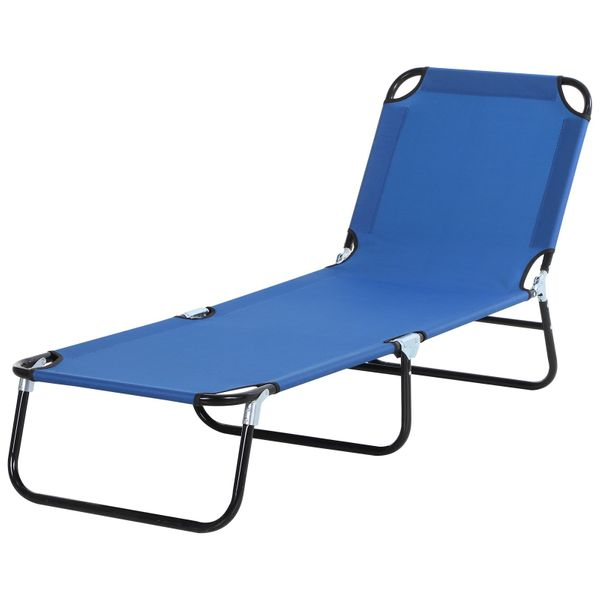 Outsunny 3-Position Adjustable Backrest Chaise Chair Lounger with Lightweight Frame Great for Pool or Sun Bathing Blue Versatile Deck/Patio w/ Oxford Fabric  | Aosom